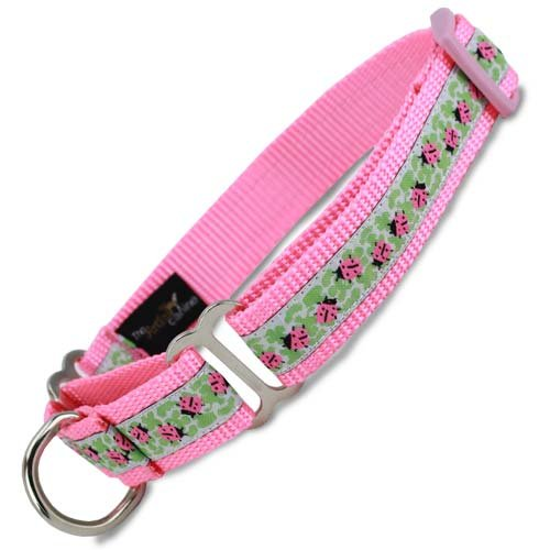 Ladybug Martingale Collar in Pink