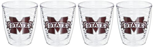Tervis 1033332 Mississippi State Bulldogs Logo Tumbler with Emblem 4 Pack 12oz, Clear
