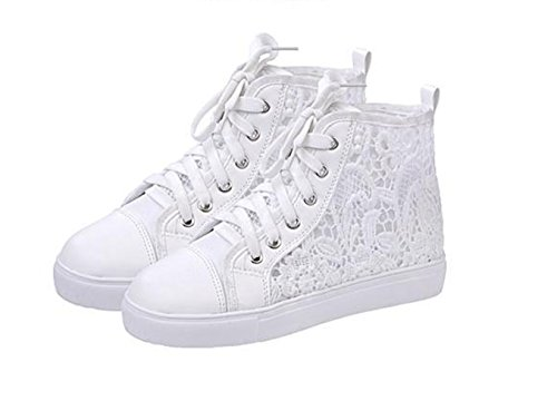 Nordstrom Wedding Shoes (Top Shop Womens Hi-Top Hollow Out Canvas Lace Up Trainers Buckle Flat Slip-on White Sneakers,US)