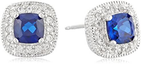 Sterling Silver Cushion Cut Birthstone with White Sapphire Halo Stud Earrings