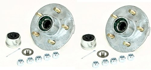 2-Pack Trailer Wheel Hub Pre-Greased Complete Galvanized 5 Lug (4.5) 84 3500lb