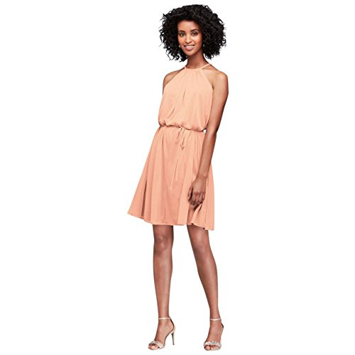 Short David's Dress F19751 Bridal Mesh Halter Bridesmaid Bellini Soft Style UUqZ17Iw4