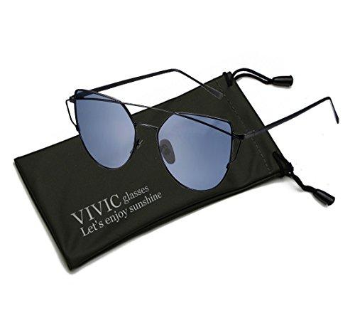 Mirrored Sunglasses Womens Cat Eye Vivic  Gray