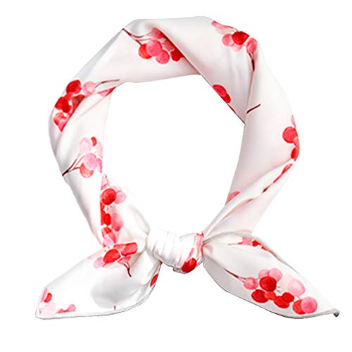 GERINLY Small Silk Scarf for Hair Wrapping Chic Cherry Print Neckerchief (White)