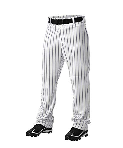 Alleson Athletic Adult Pinstripe Baseball Pants- White/Navy; Large