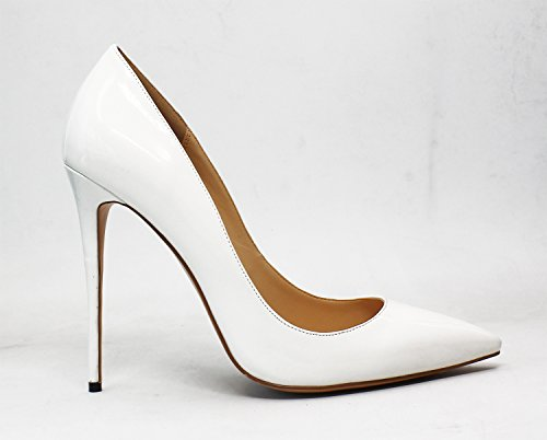 Guoar Womens Stiletto Big Size Shoes Pointed Toe Patent Ladies Solid Pumps For Work Place Dress Party A-white Patent Fao3EylXCO