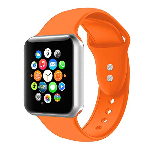 (BOTOMALL Compatible with Iwatch Band 38mm 40mm 42mm 44mm Classic Silicone Sport Replacement Strap Bracelet for Iwatch All Models Series 4 Series 3 Series 2 Series 1 (Orange,42/44mm S/M))