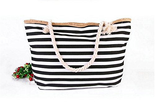 Bag Shoulder Wild Big Beach Amuele Weave Rough Twine Shopping H186 Canvas Beach Bag Handbag Striped Straw Black Stripe Bag Stripe PB7xB5