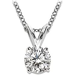 Near 1 Carat 4 Prong Solitaire Basket Diamond Pendant Necklace 14K White Gold (J, I1, 0.85 ctw)