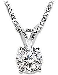 Near 1/2 Carat 4 Prong Solitaire Basket Diamond Pendant Necklace 14K White Gold (I, SI2, 0.45 ctw)
