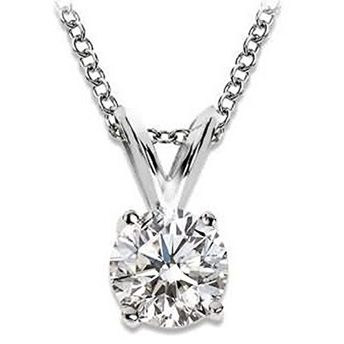 Near 1/2 Carat 4 Prong Solitaire Basket Diamond Pendant Necklace 14K White Gold (K, I2, 0.45 ctw)