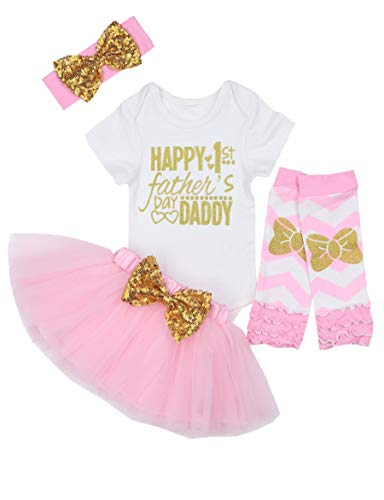 Happy 1st Fathers Day Baby Girl Outfit Letter Print Rompers+Tutu Dresses Shorts+Headband 4PCS Skirt Set 0-3 Months - Happy Baby Girl