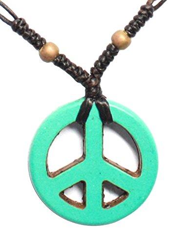 Bijoux De Ja Handmade Blue Howlite Peace Beads Pendant Station Necklace 16 Inches