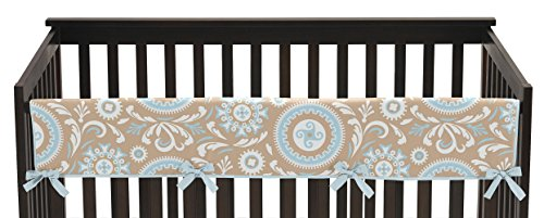 Bedding Baby Hayden - Sweet Jojo Designs Hayden Blue and Taupe Long Front Rail Guard Baby Teething Cover Crib Protector Wrap