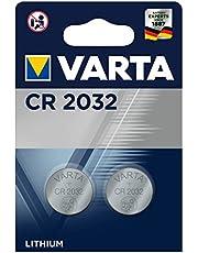 VARTA CR 2032, Batteria Litio a Bottone, Piatta, Specialistica, 3 Volts, Diametro 20mm, Altezza 3,2mm, confezione 2 pile