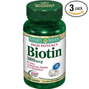 Bounty Nature biotine 1000mcg, 100 comprimés (lot de 3)