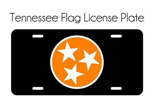 (Tennessee Vols License Plate Car Tag Orange White TN State Flag 3 Stars Tri Star Black Knoxville TN UT Aluminum Front Car Plate)