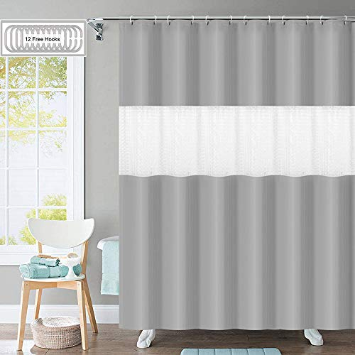 (Shower Curtain with 12 Hooks, [2019 Upgraded] 3D Pattern PEVA 12G Bathroom Shower Curtains Set, 72