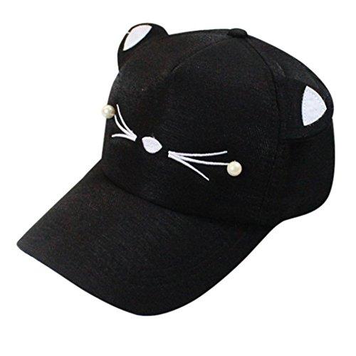 Hot Sale!! Women Girl Spring Fashion Pearl Cat Ears Visor Baseball Cap Cute Student Hat (Black)