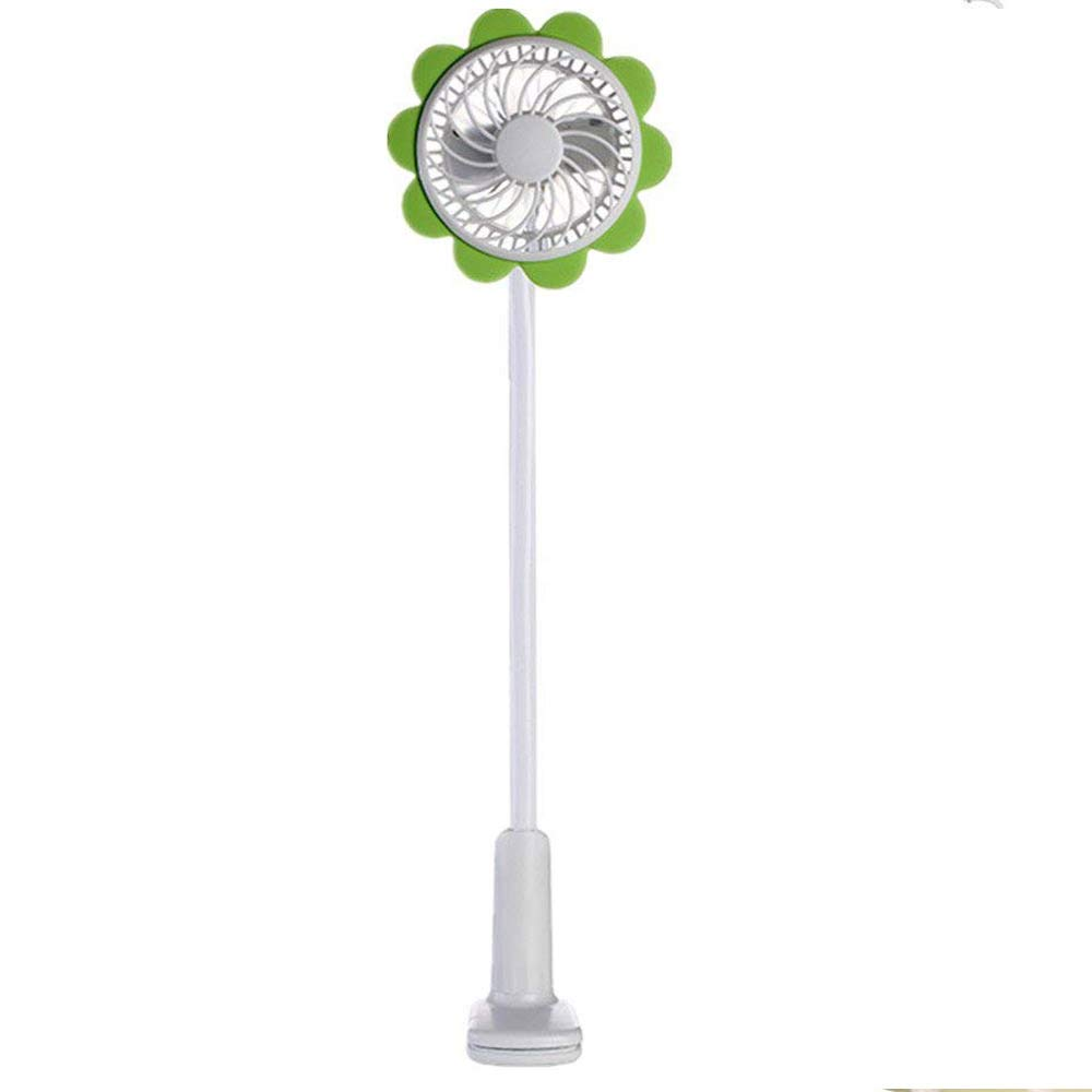 Outdoor Mini Noiseless Handheld Fan Rechargeable,MeiLiio 360 Degree Adjustable Portable Micro USB Fan with Bendable Clip Beauty Girls Fan Cooling Clip Fan for Kids Children Babyroom Home (Green)