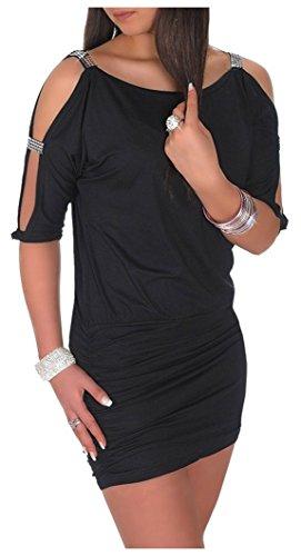 Glamour Empire Womens Open Sleeve Stretchy Jersey Tunic Mini Dress 157 (Black, US 6/8, M)