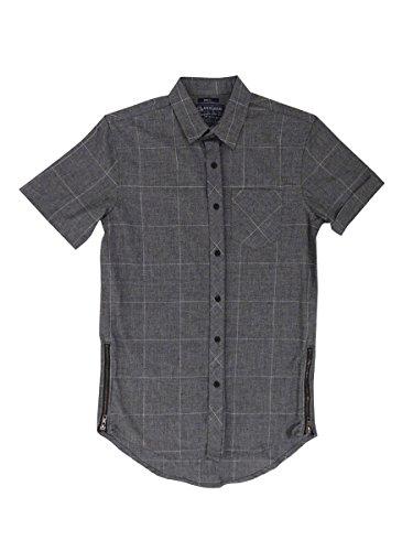 American Rag Men's Elongated Windowpane Short-Sleeve Shirt (S, Grey)
