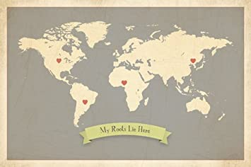 Amazon my roots personalized world map 24x18 print kids my roots personalized world map 24x18 print kids wall art world map kids wall gumiabroncs Image collections