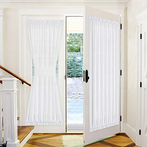 PONY DANCE Front Door Curtain - 52 by 72 inches White Sheers Weave Fabric Pattern Window Panels Rod Pocket Drapes for Entryway Sliding Door with Tieback, 1 Piece (Rod Curtains And Bottom Pocket Top)