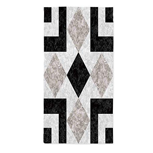 Apartment Decor Dust Proof Tablecloth,Nostalgic Marble Stone Mosaic Regular Design with Alluring Elements Image for Kitchen Dinning Tabletop Decoration,24''W X 48''L