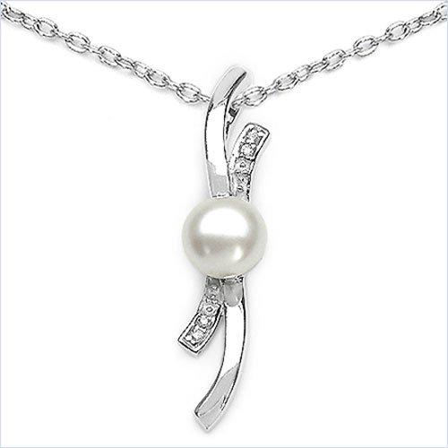 Bijoux Schmidt-Elégant perle d'eau douce collier en argent rhodié-zircone-1.39 carats