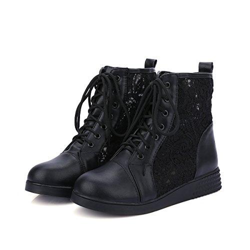 9212e8f58287 YE Damen Flache Ankle Boots Sommer Stiefel mit Schnürung und Spitze Bequem  Elegant Sommer Schuhe tEso7FaYa