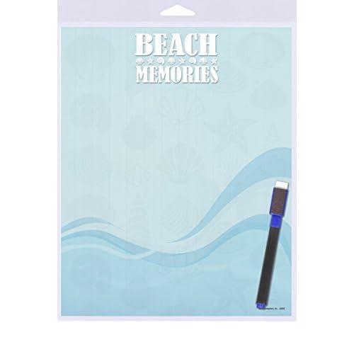 "(SJT40922) Beach Memories (seashells and blue wave design) Dry Erase Memo Board 8"" x 10"""
