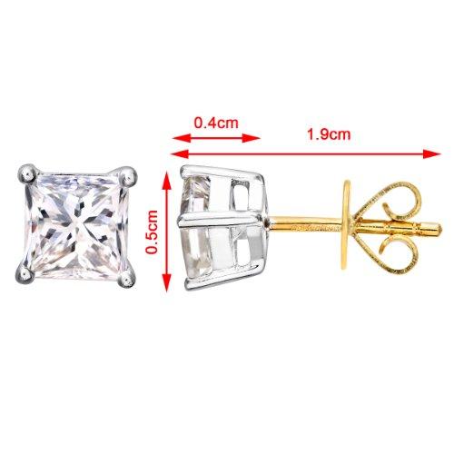 Revoni-Boucles d'Oreilles Clous Femme-Diamant Certifié J/SI Coupe Princesse de 1carat or jaune 18Ct