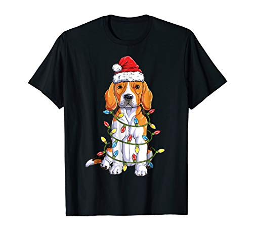 Beagle Christmas Shirt Santa Hat Xmas tree Lights Dog Boys