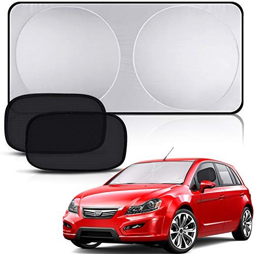 (Peyou Car Windshield Sun Shade + Bonus 2 Pack Car Side/Rear Window Sun Shade-Protect Your Car from Heat and Damage-Reflective Coating-Foldable Sunshade-Keep Your Car Cool (Large 63 x 32.7 inches))