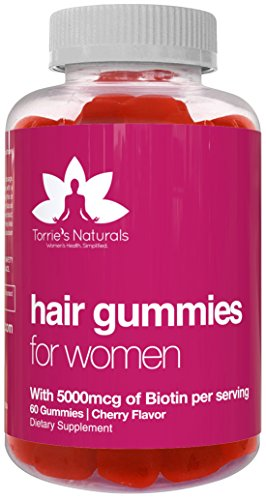 Hair Gummy Vitamins with Biotin 5000mcg for Women by Torries Naturals. Promotes Natural Hair Growth, with Shiny, Thicker and Stronger Hair. Packed with Vitamins B-12, C, D, and E & More.