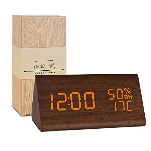 BlaCOG Wooden Alarm Clock,Digital Alarm Clock Large Time Display,Wooden LED Desk Clock with Date/Temperature/Humidity,Smart Voice-Activated Clock with 3 Alarm Groups for Bedroom/Kids-Brown/Orange ()
