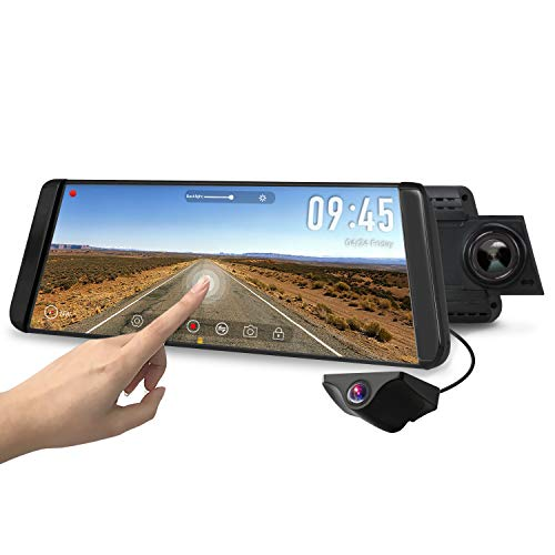 "AUTO-VOX X2 Mirror Dash Cam with 9.88"" Streaming Media 1296P FHD Touch Screen, 720P AHD Waterproof Backup Camera with G-Sensor, LDWS, WDR,GPS Tracking"