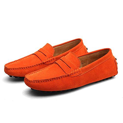 de DUORO Loafer Zapatos para Naranja Planos Hombre Mocasines Piel Casual Twqx7nwpg4