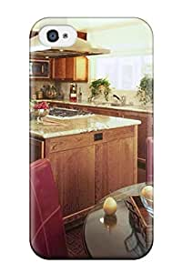 Fashion Protective Rich Stained Wood Kitchen With Marble Countertops And Farmstead Accents Case Cover For Iphone 4/4s