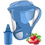 Alkaline Water Pitcher Filter with 6-Stage Carbon Water Filter - Removes Chlorine and Contaminants Plus Increases pH (Blue)