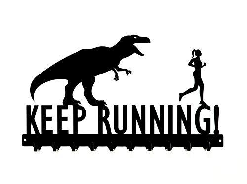 Keep Running T-Rex & Woman Medals Rack - 10 Hook