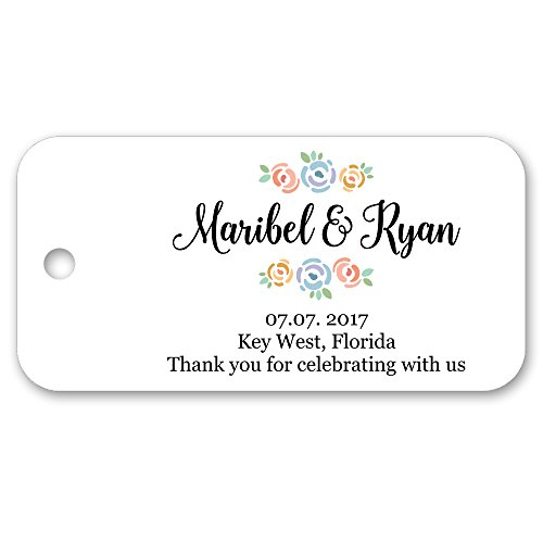 Pretty Floral Personalized Custom Party Wedding Favor Gift Tags - 1.5