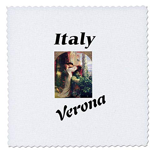 3dRose Lens Art by Florene - Italian Cities with Icons - Image of Verona Italy with Romeo and Juliet - 25x25 inch Quilt Square (qs_307327_10)