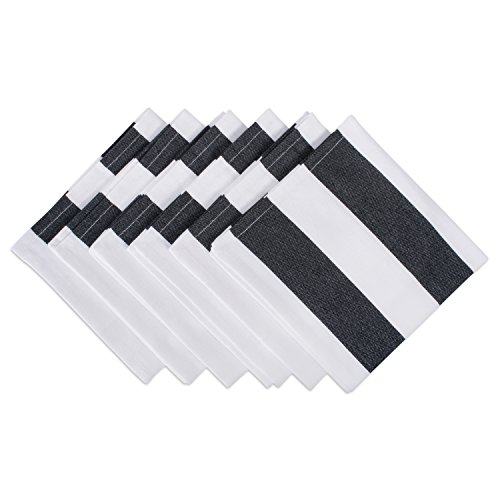 DII Oversized 20x20' Cotton Napkin, Pack of 6, Black & White Cabana Stripe - Perfect for Halloween, Dinner Parties, BBQs and Everyday Use
