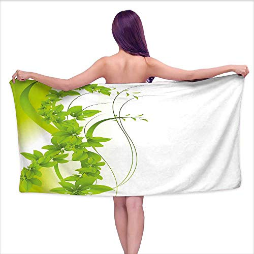 - Andasrew Printed Bath Towel Green,Blossoming Flowers Natural Fantasy Theme Abstract Botanical Garden Design,Apple Green White,W20 xL39 for bathrooms, Beaches, Parties