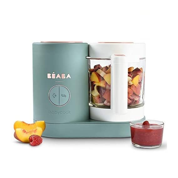 BEABA Babycook Neo - 4 in 1 Baby Food Processor, Blender, Steamer and Cooker (Eucalyptus)
