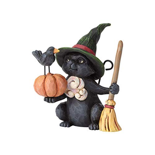 Enesco Jim Shore Heartwood Creek Mini Witch Cat w/Pumpkin -