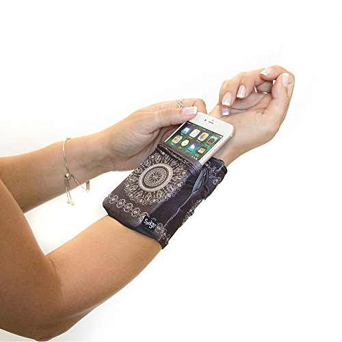 Sprigs Banjees 2 Pocket Wrist Wallet - Batik Slate Gray, One Size Fits Most (Wrist Wallet Banjee)