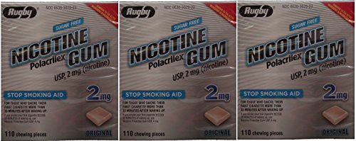 Nicotine Gum 2mg Sugar Free Original Generic for Nicorette 110 Pieces per Box Pack of 3 Total 330 Pieces (330 Rugby)